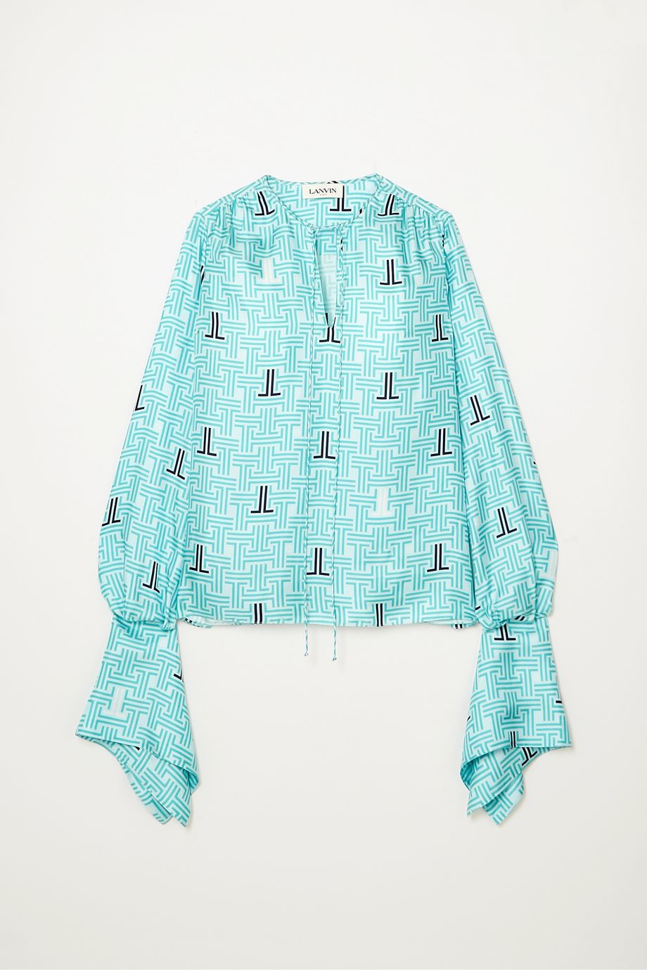 Lanvin Printed silk-twill blouse