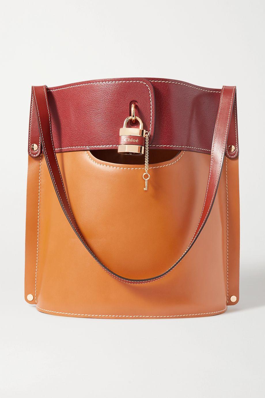 끌로에 애비 투톤 토트백 - 브라운 Chloe Aby two-tone leather tote,Brown