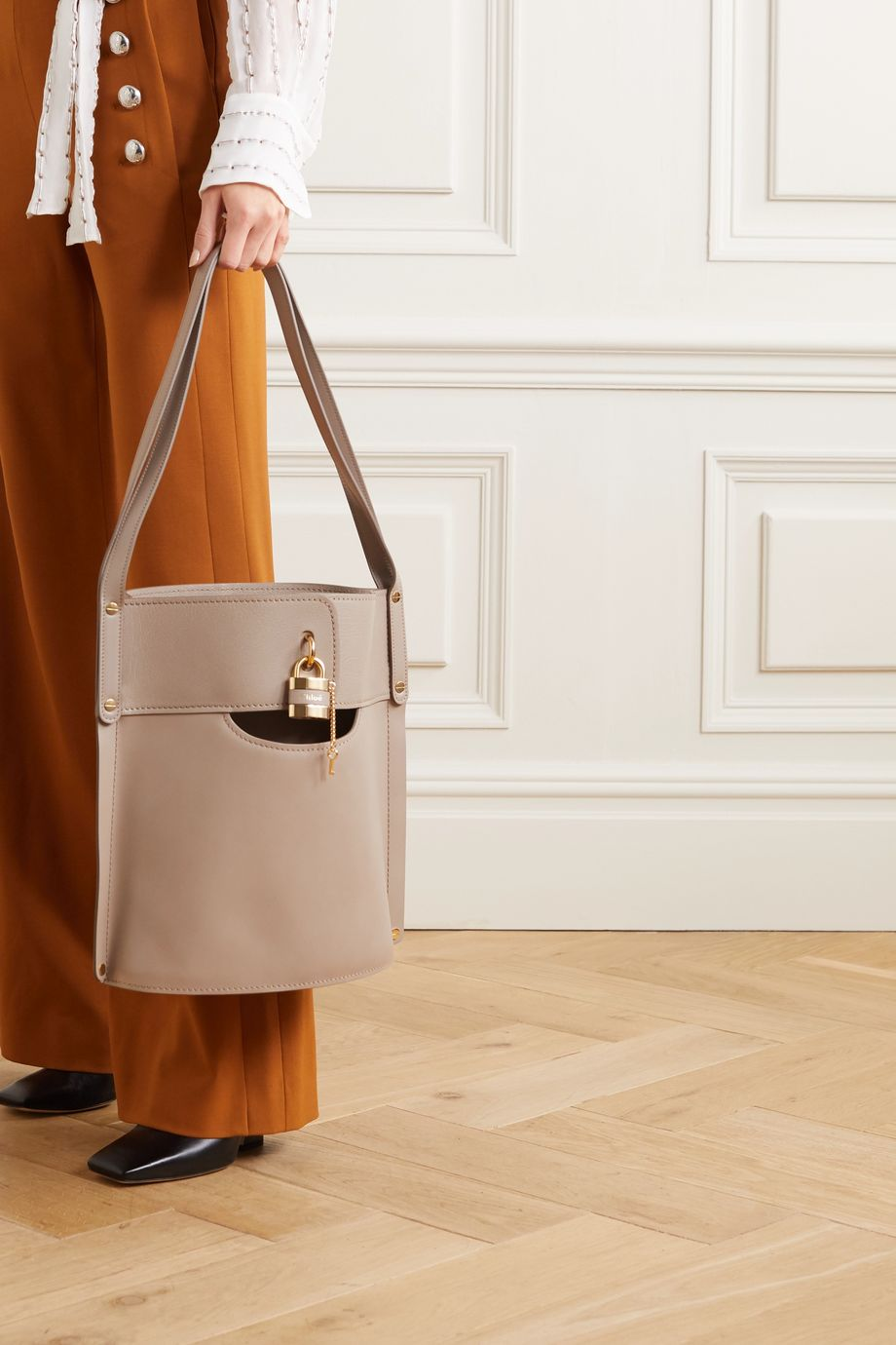 Chloé Aby smooth and textured-leather tote