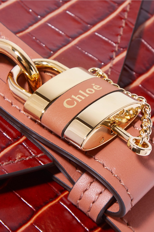 Chloé Sac porté épaule en cuir effet croco Aby Chain Small