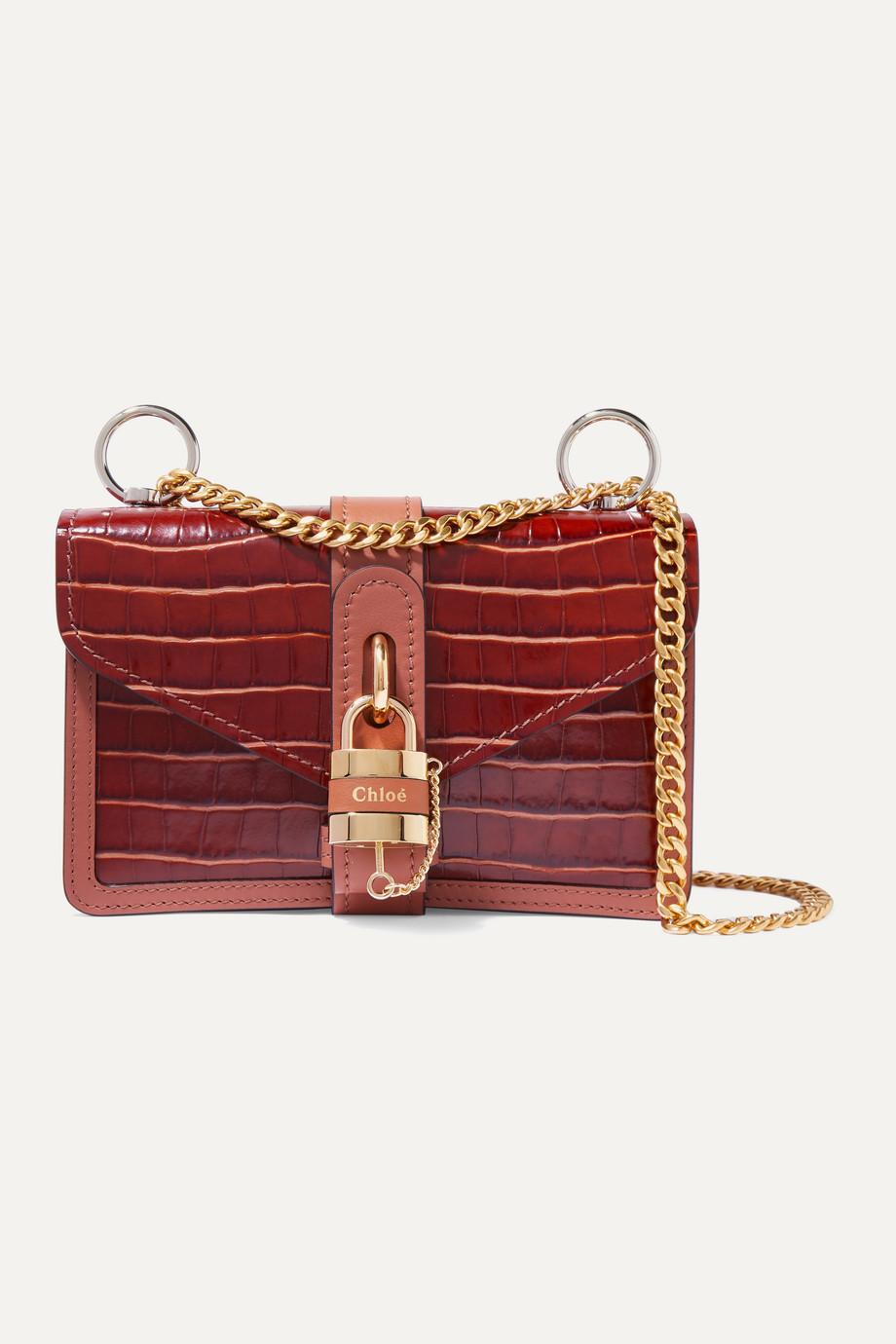 끌로에 애비 체인 숄더백 스몰 - 브라운 Chloe Aby Chain small croc-effect leather shoulder bag,Brown
