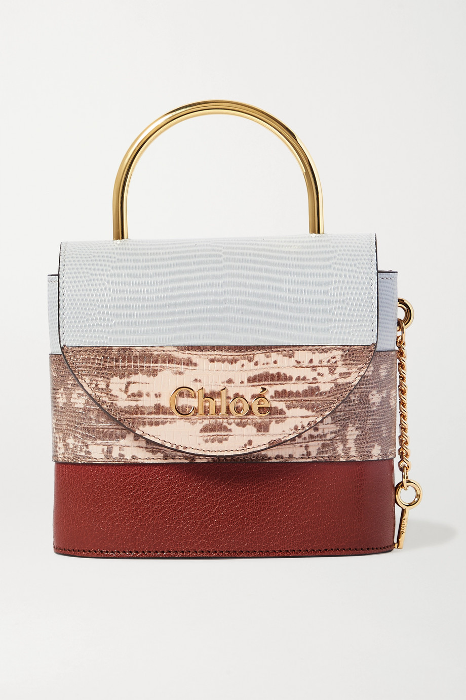 Chloé Aby Lock small lizard-effect leather shoulder bag