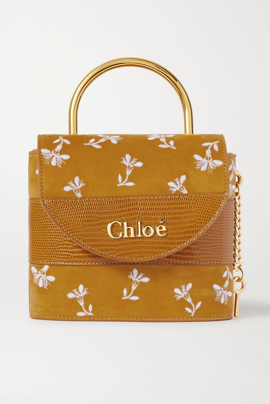 Chloé Aby Lock small lizard-effect leather-trimmed embroidered suede shoulder bag
