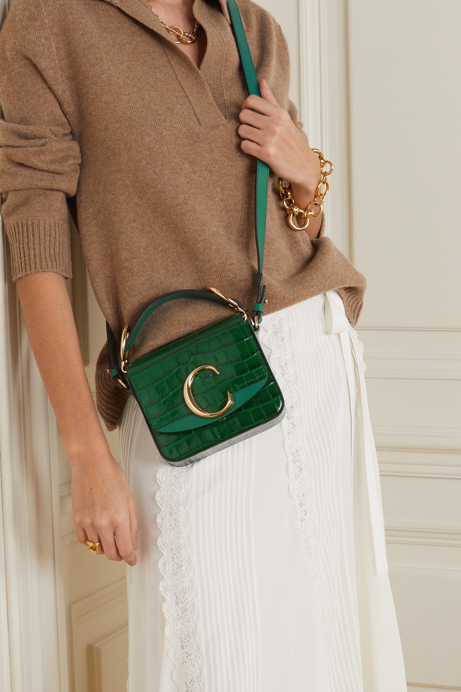 Chloé Chloé C mini suede-trimmed croc-effect leather shoulder bag