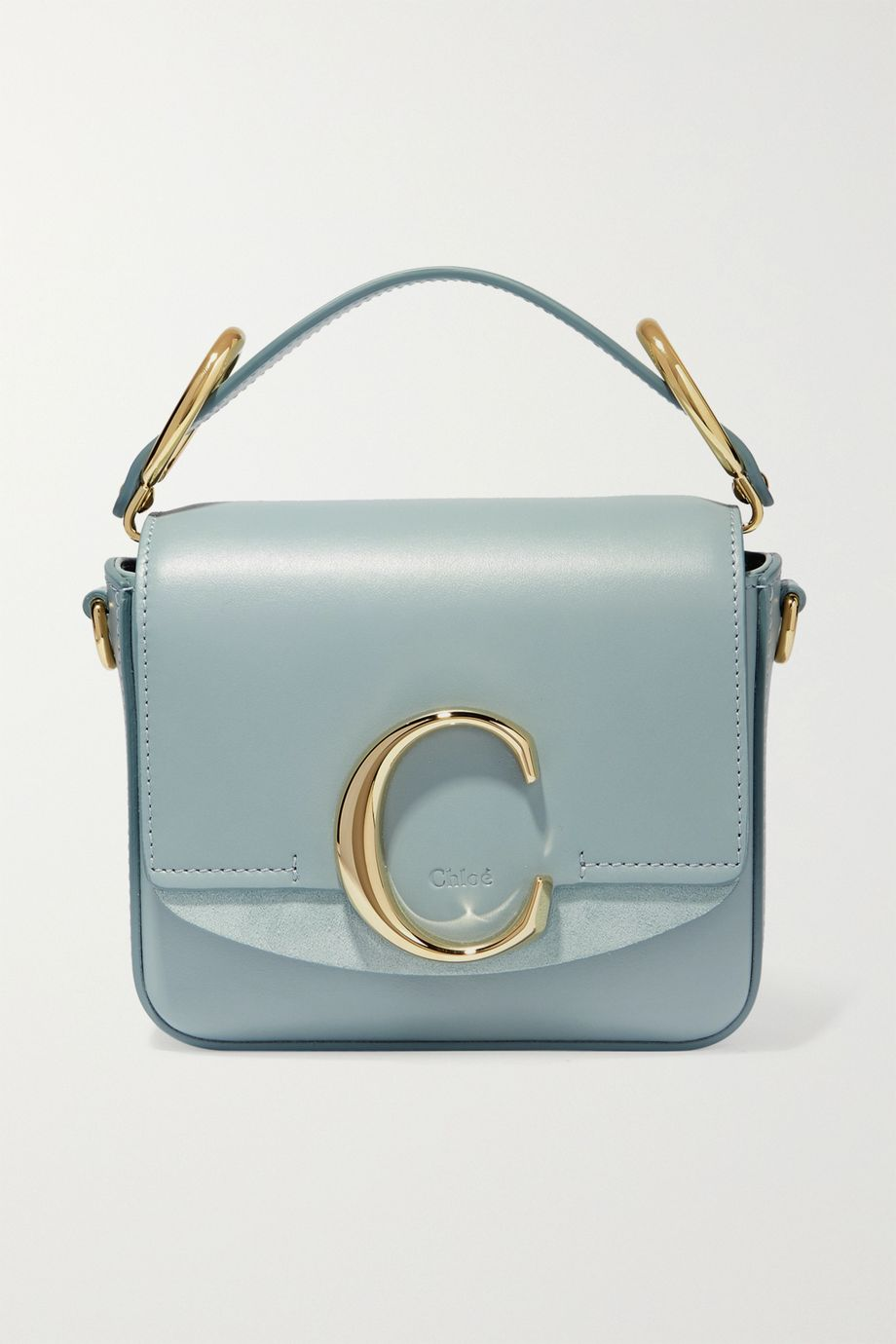 Chloé Chloé C mini suede-trimmed leather shoulder bag