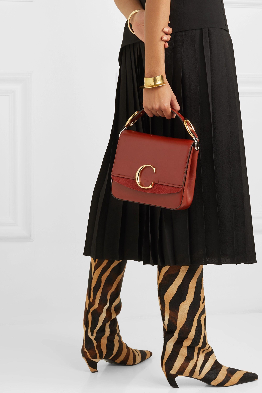 Chloé Chloé C kleine Schultertasche aus Leder mit Velourslederbesatz