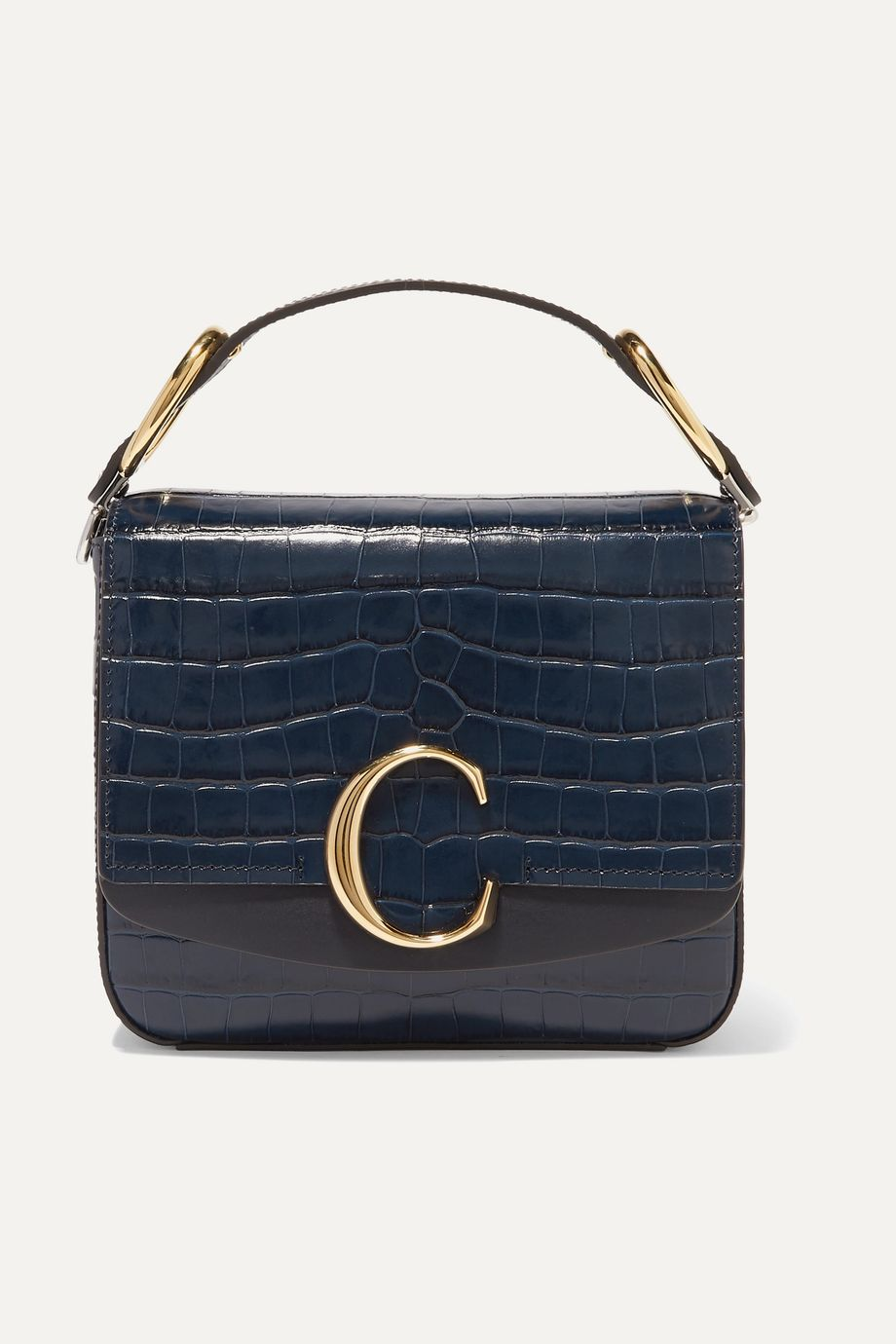 Chloé Chloé C small leather-trimmed croc-effect shoulder bag