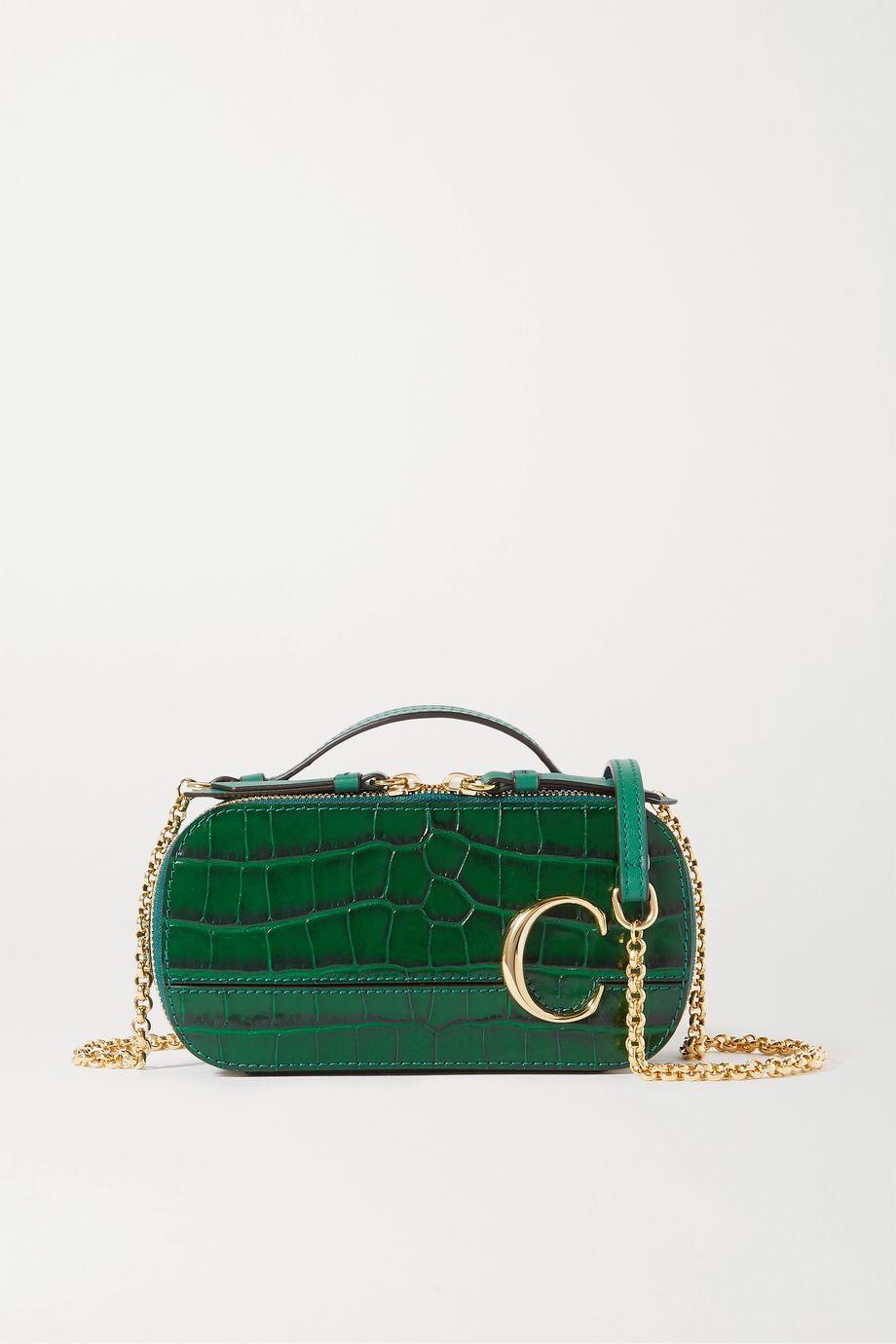 Chloé Chloé C Vanity mini croc-effect leather shoulder bag