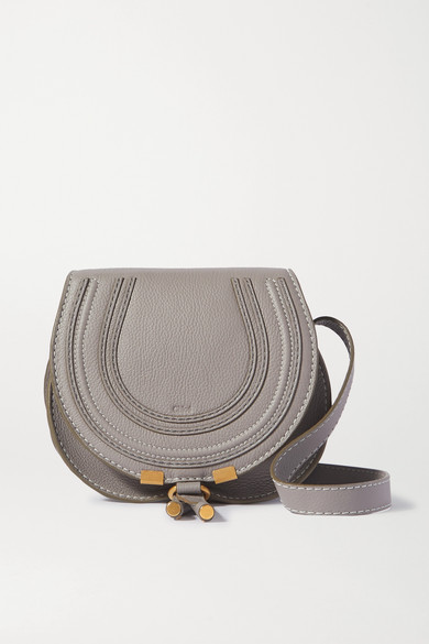 Chloé Marcie Mini Textured-leather Shoulder Bag In Gray