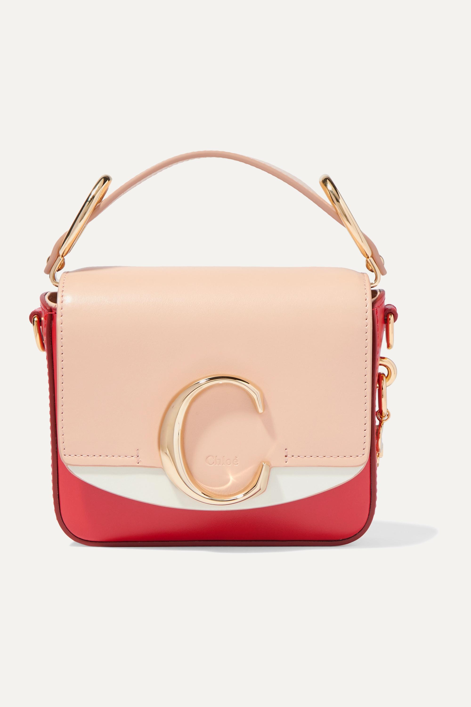 Chloé Chloé C mini color-block leather shoulder bag