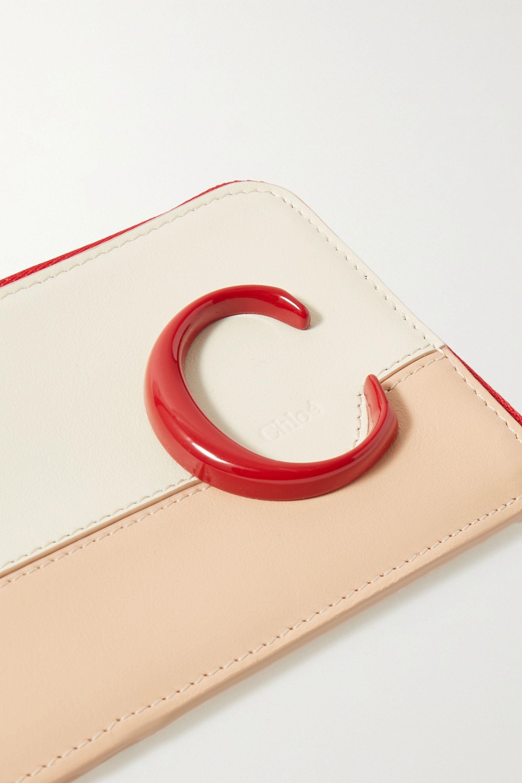 Chloé C color-block leather cardholder