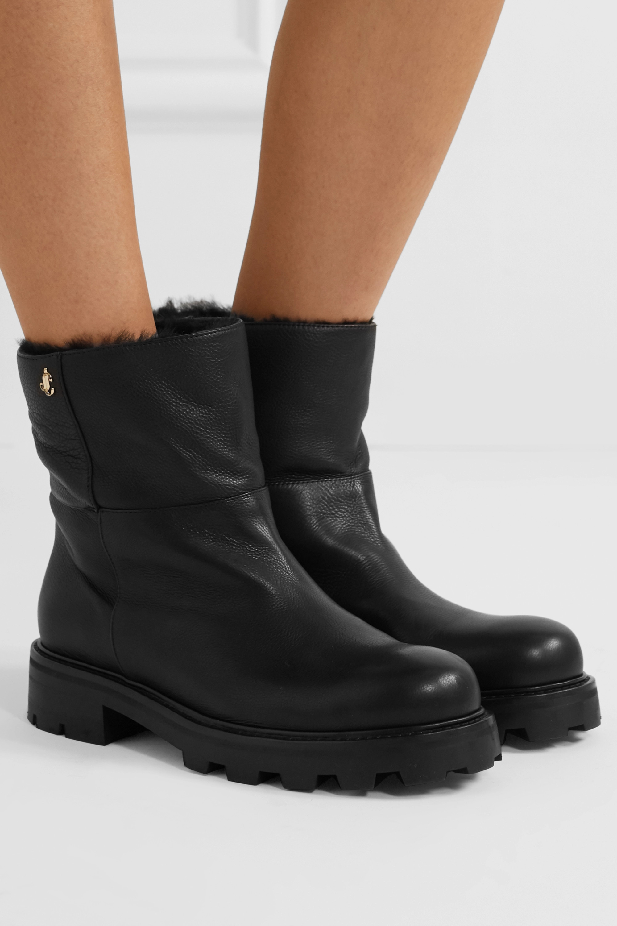Jimmy Choo Haysel shearling-lined leather ankle boots