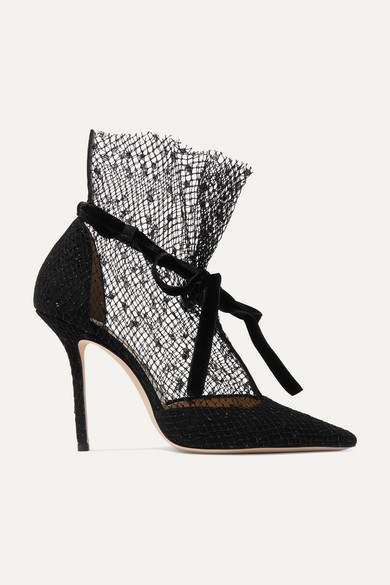 Fira 100 Velvet Trimmed Suede And Flocked Tulle Pumps by Jimmy Choo