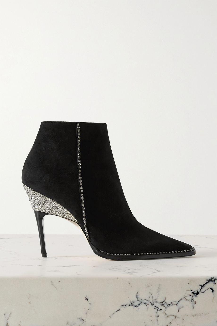 Jimmy Choo Brecken 100 crystal-embellished suede ankle boots