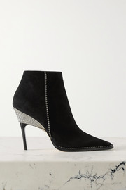 Jimmy Choo Brecken 100 crystal-embellished suede ankle boots