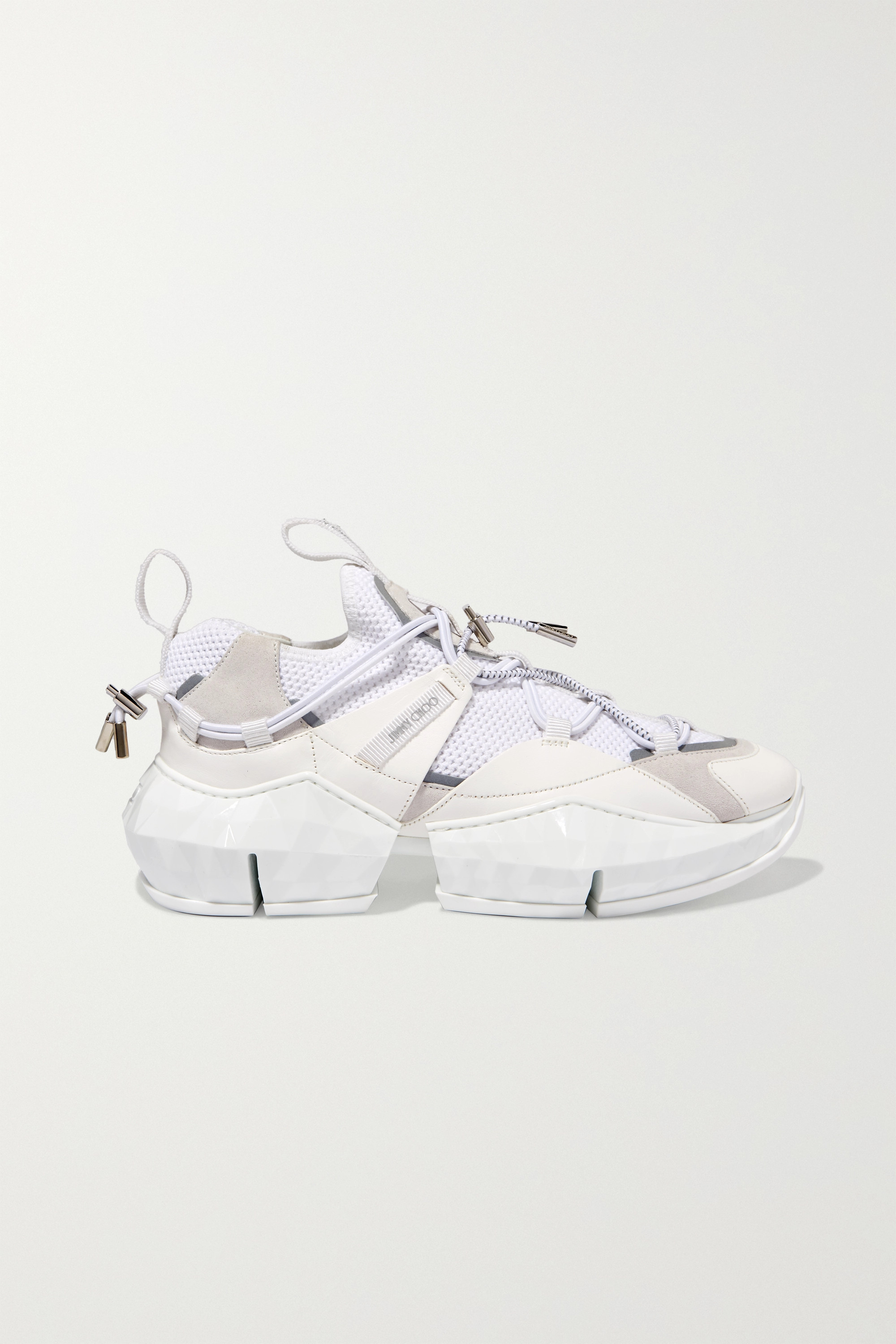 Jimmy Choo Diamond Trail stretch-mesh, leather and suede sneakers