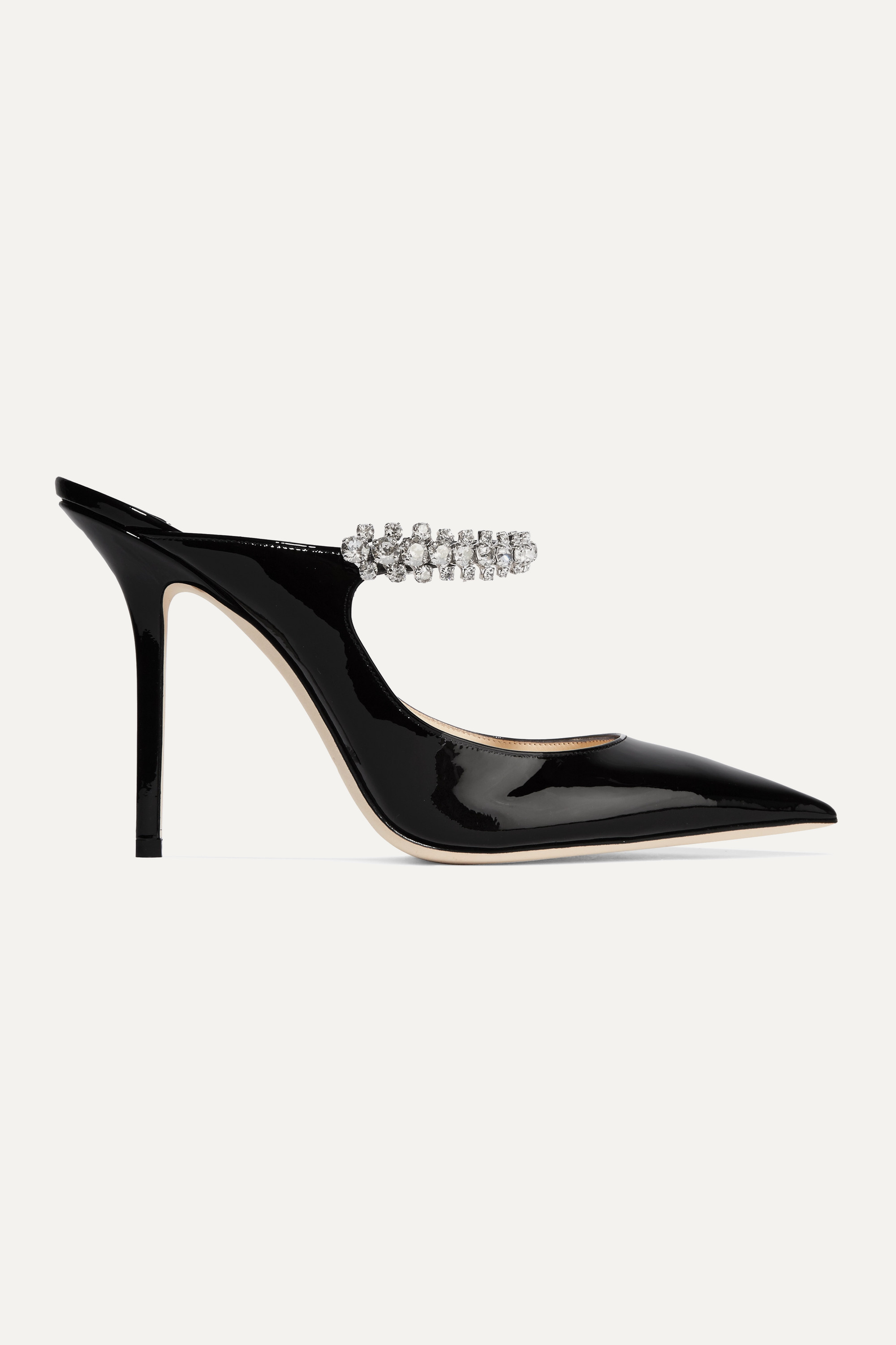 Jimmy Choo Bing 100 crystal-embellished patent-leather mules