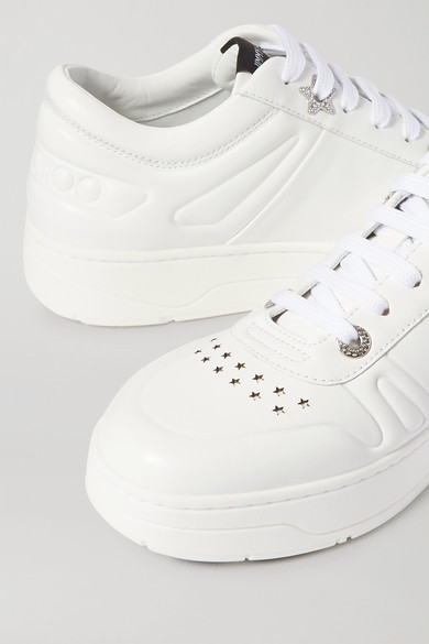 hawaii-crystal-embellished-perforated-leather-sneakers by jimmy-choo