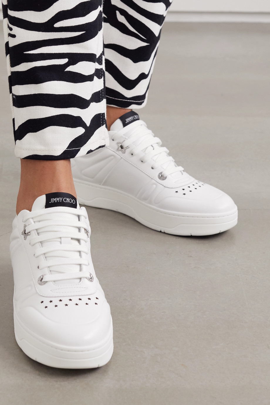 Jimmy Choo Hawaii crystal-embellished perforated leather sneakers