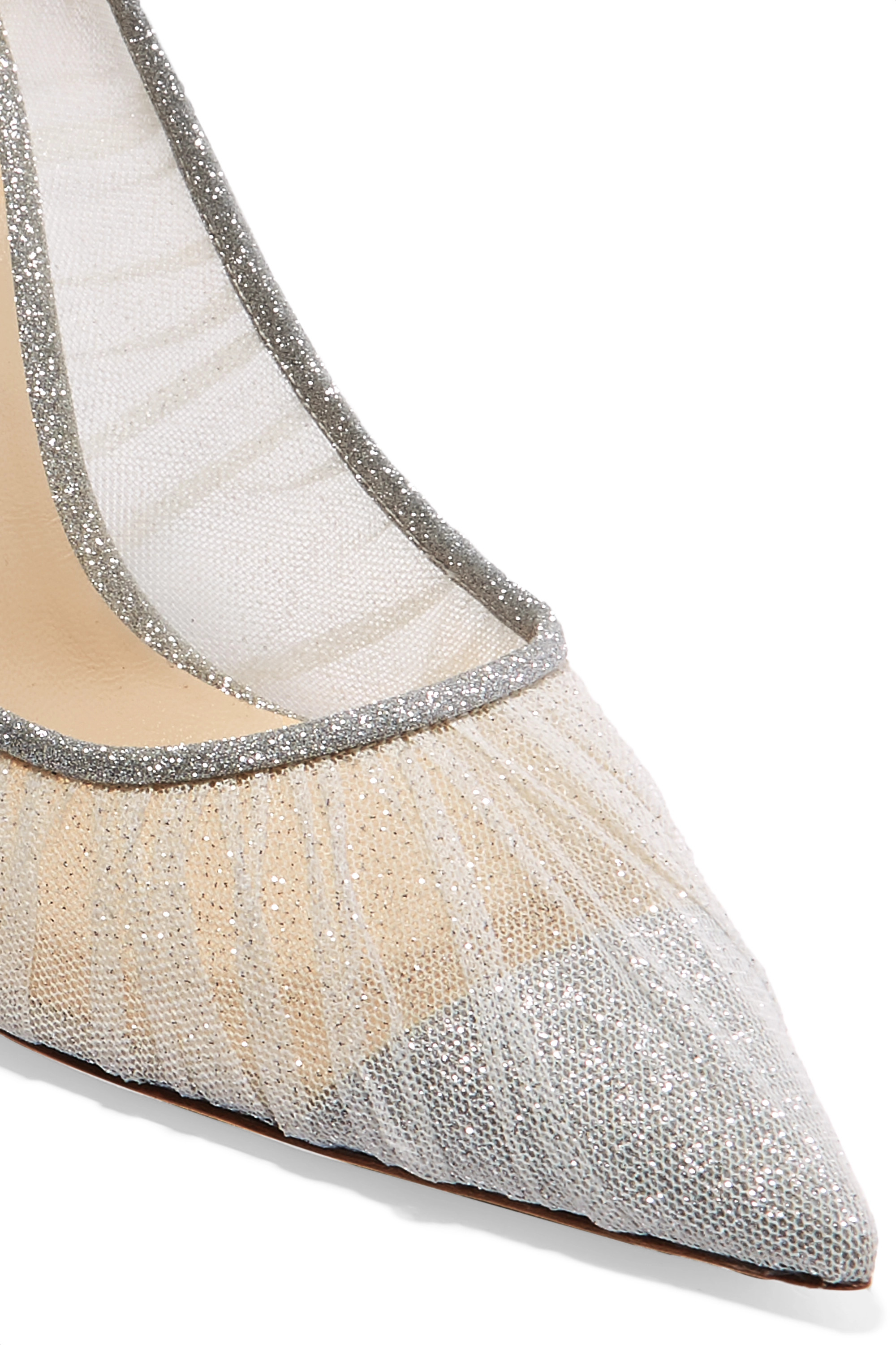 Jimmy Choo Love 100 glittered tulle and canvas pumps