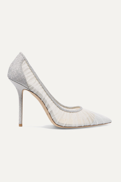 Love 100 Glittered Tulle And Canvas Pumps by Jimmy Choo