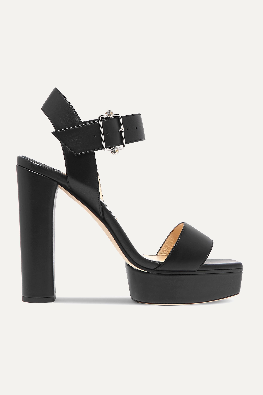 Jimmy Choo Maie 125 crystal-embellished leather platform sandals