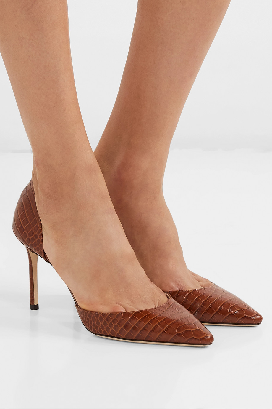 Jimmy Choo Esther 85 croc-effect leather pumps