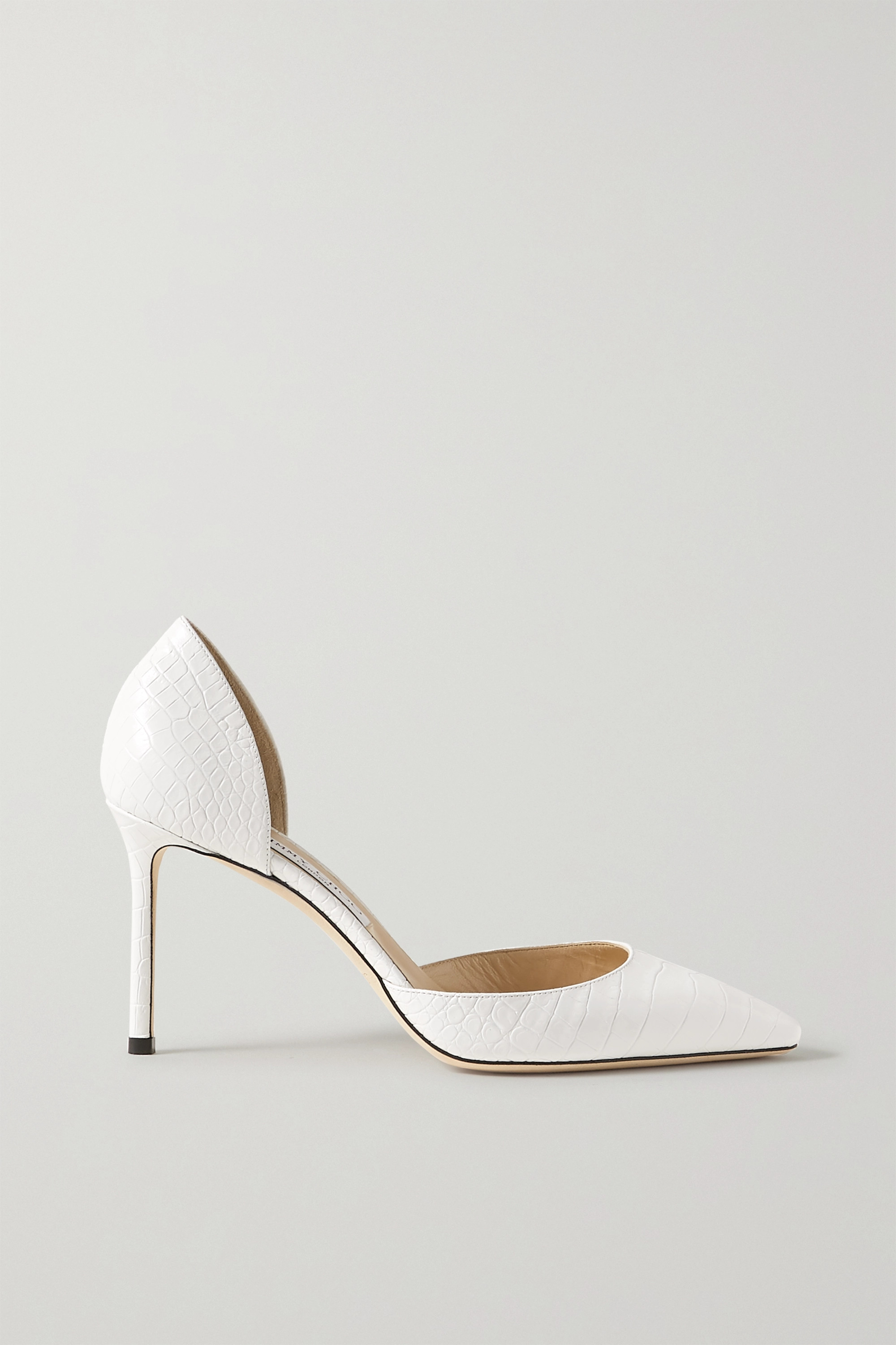 White Esther 85 croc-effect leather