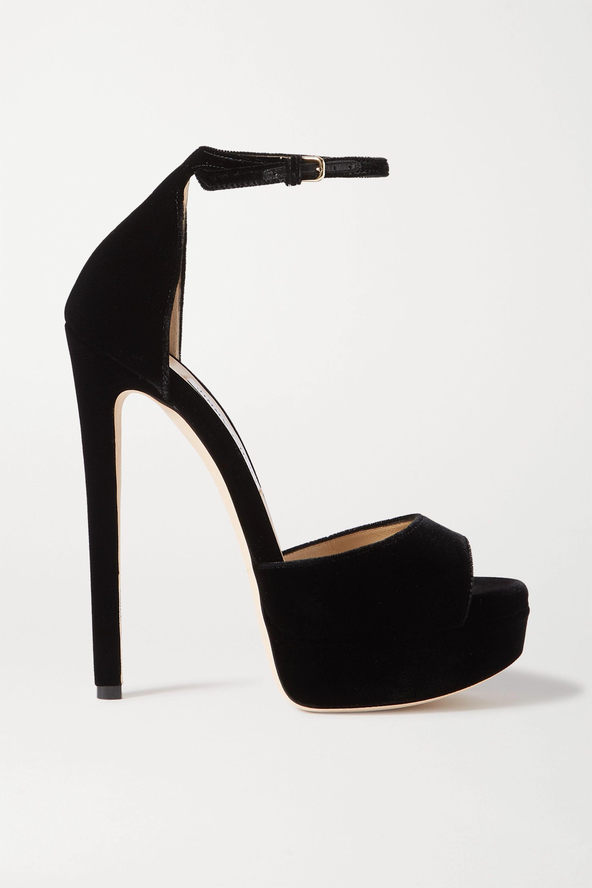 Black Max 150 velvet platform sandals