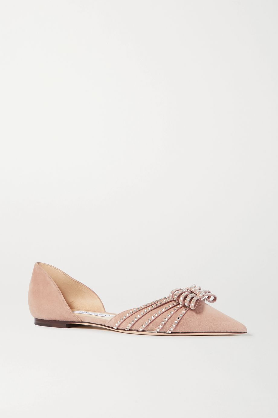 Jimmy Choo Kaitence crystal-embellished suede point-toe flats