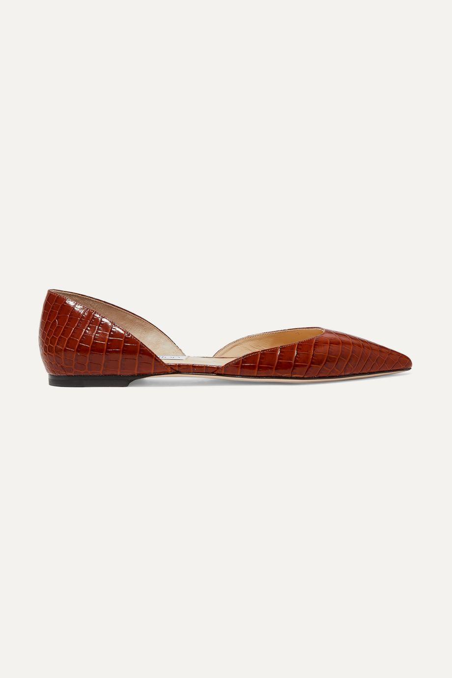 Jimmy Choo Esther croc-effect leather ballet flats
