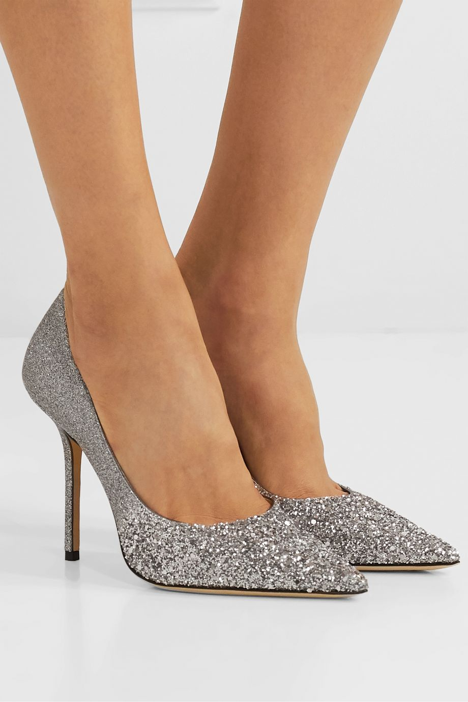 Jimmy Choo Love 100 glittered canvas pumps