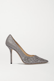 Love 100 glittered canvas pumps