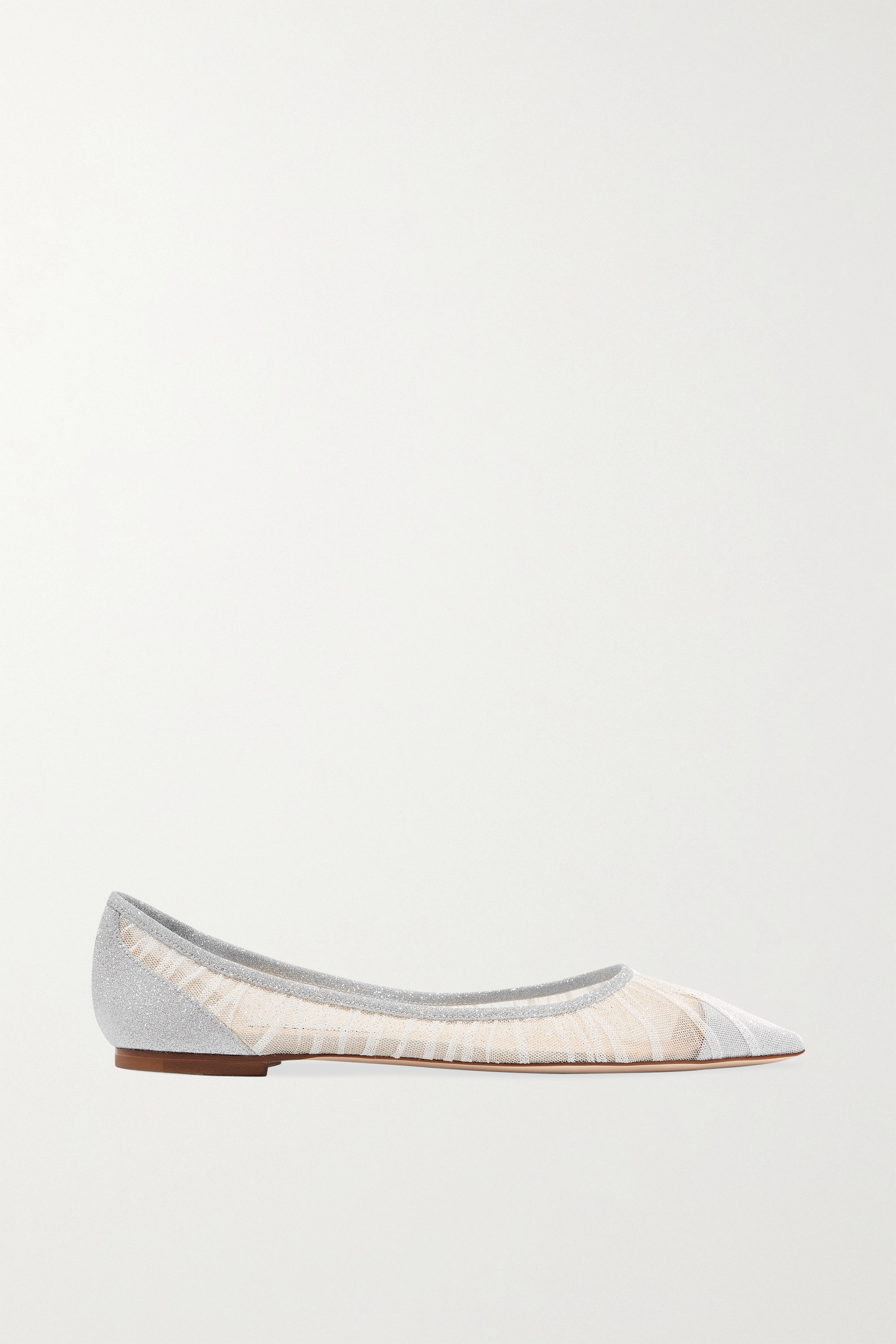 Jimmy Choo Love glittered tulle and canvas point-toe flats