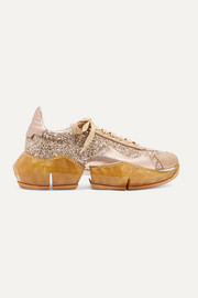 Jimmy Choo Diamond glittered canvas and metallic textured-leather sneakers