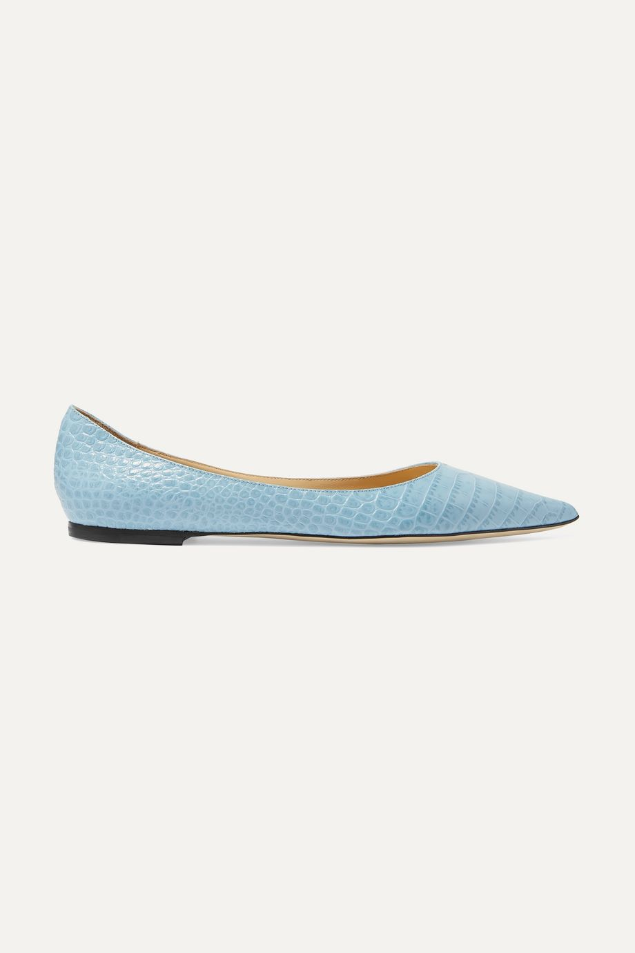 Jimmy Choo Love croc-effect leather point-toe flats