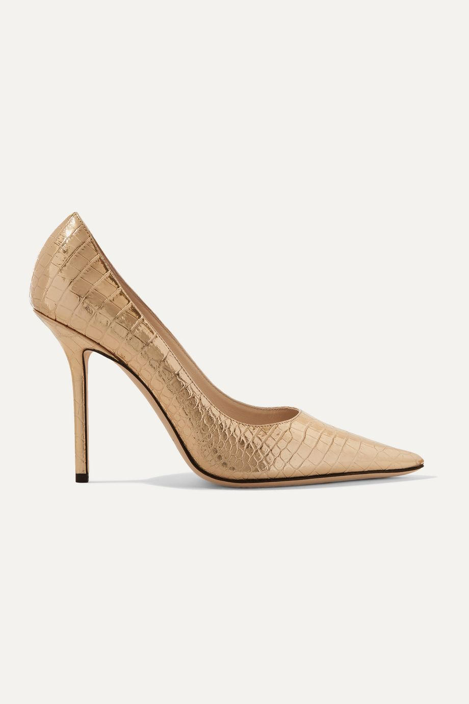 Jimmy Choo Love 100 metallic croc-effect leather pumps