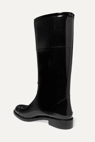 Edith Logo Embellished Faux Patent Leather Rain Boots by Jimmy Choo