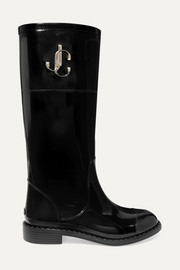Jimmy Choo Edith logo-embellished faux patent-leather rain boots