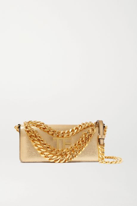 Gold Triple Chain small embellished metallic leather shoulder bag   TOM FORD FABXxf
