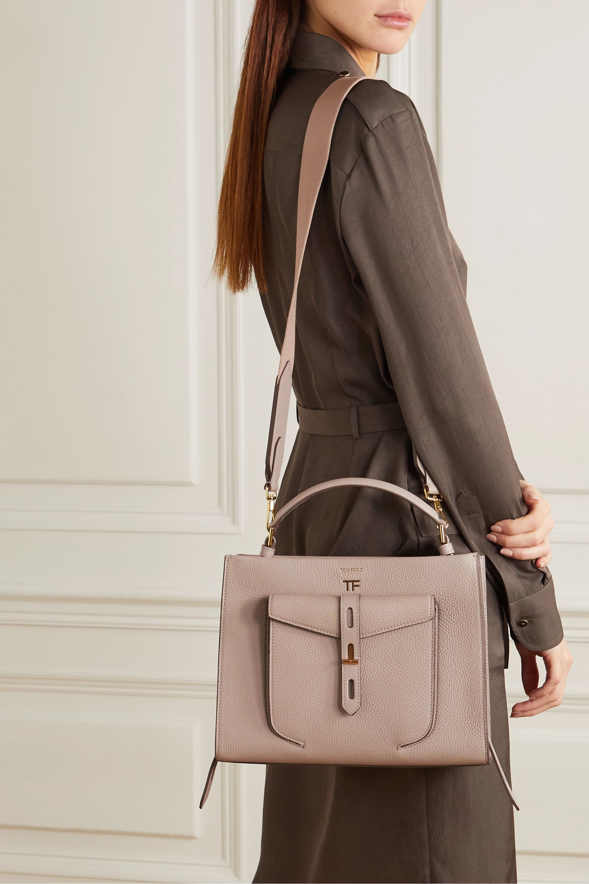 TOM FORD T Twist small textured-leather shoulder bag