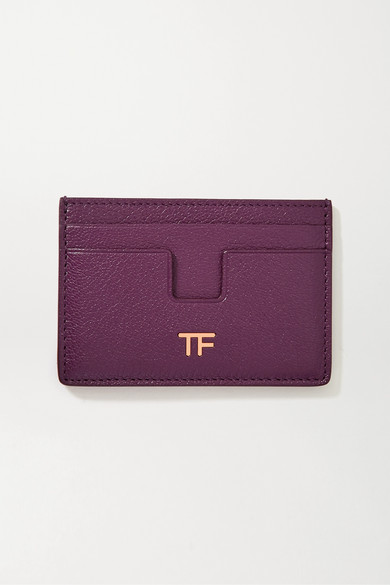 Tom Ford Textured-leather Cardholder In Purple