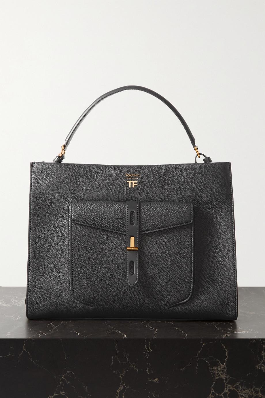 TOM FORD T Twist medium textured-leather shoulder bag