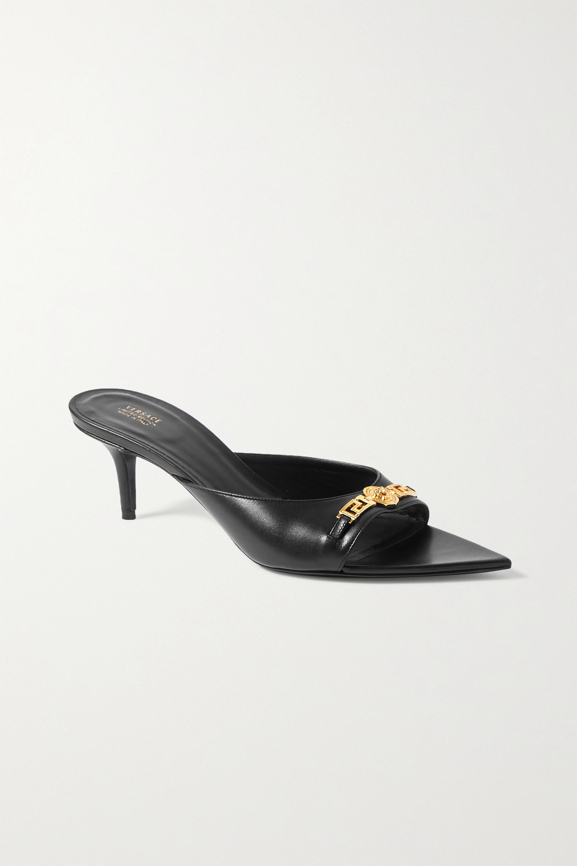 Black Embellished leather mules