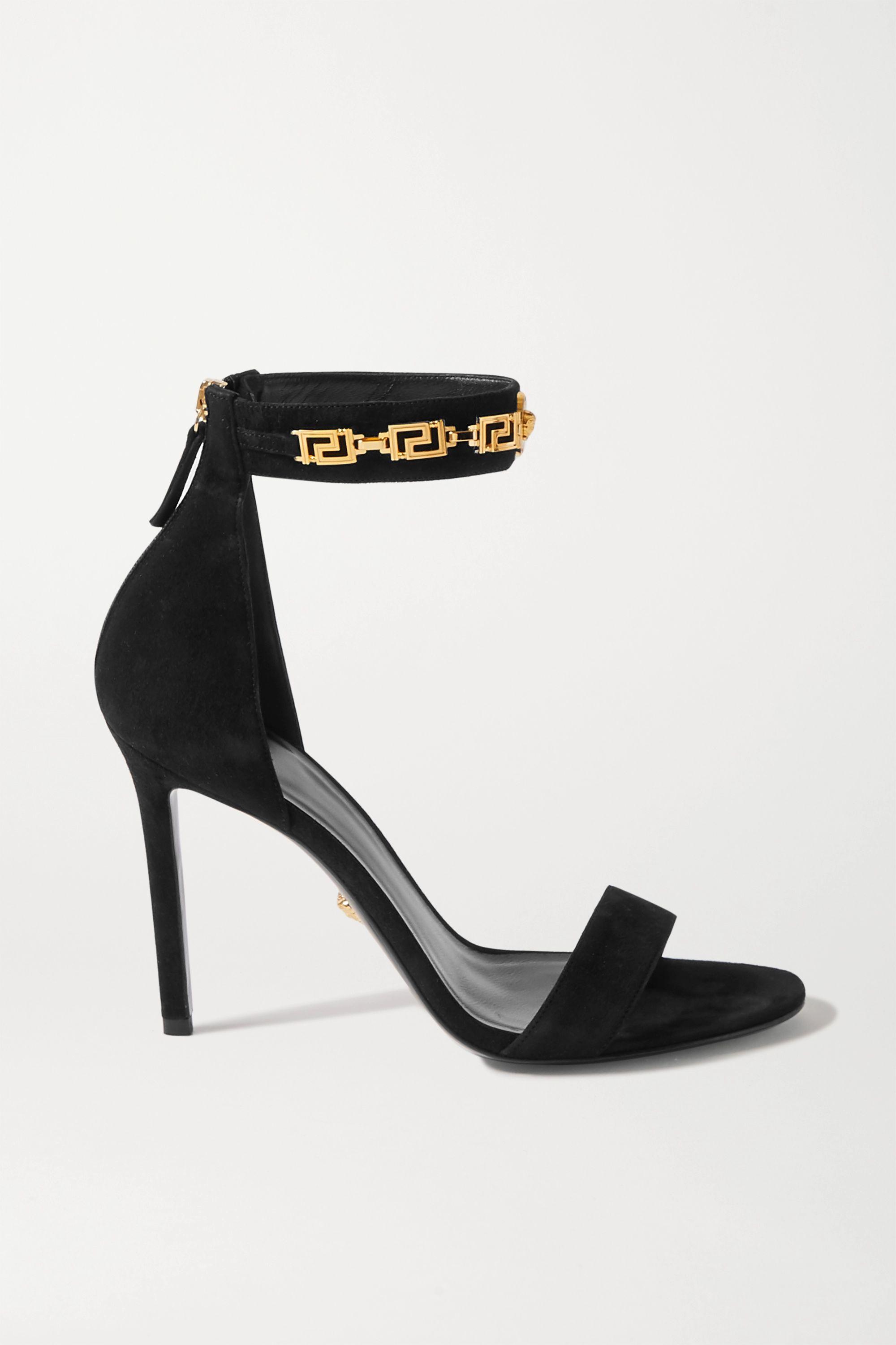 Versace Embellished suede sandals