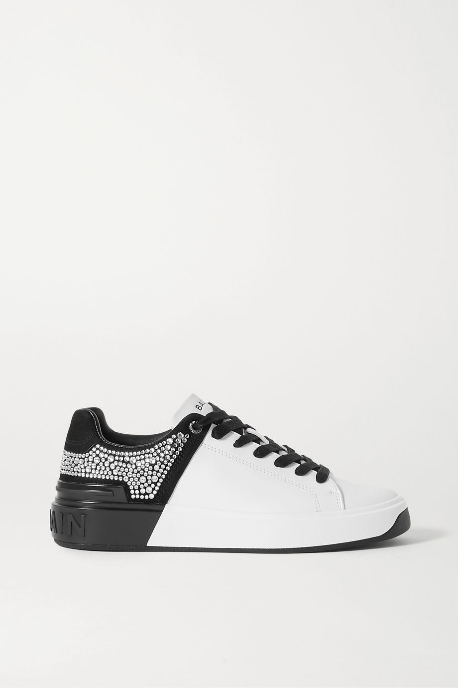 Balmain B-Court crystal-embellished two-tone leather and suede sneakers