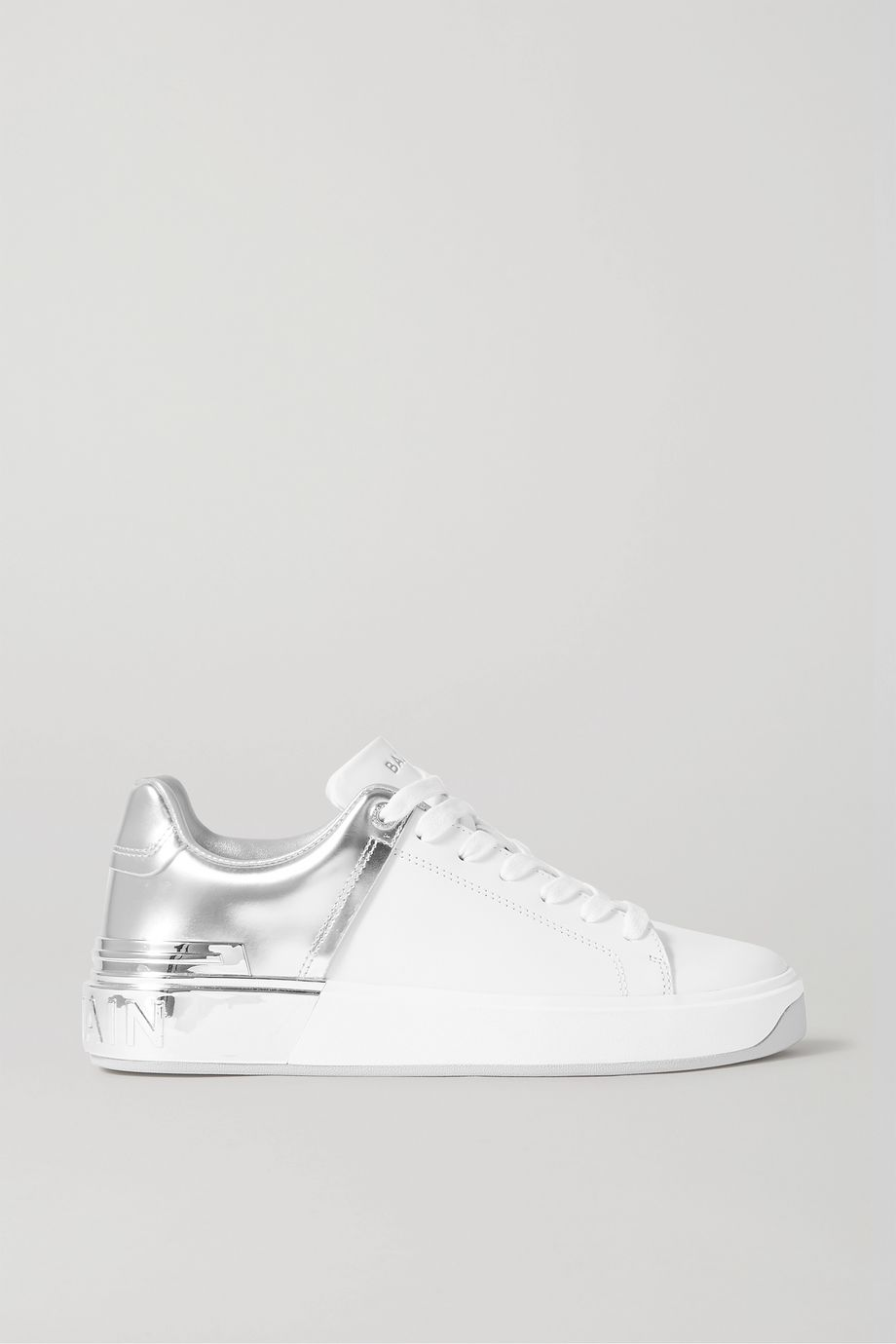 Balmain B-Court matte and metallic leather sneakers