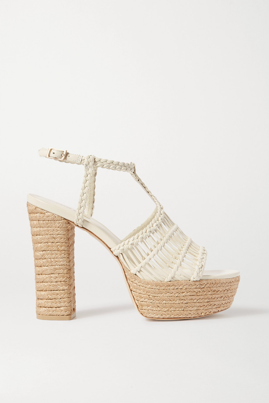 Cult Gaia Thea braided leather espadrille platform sandals