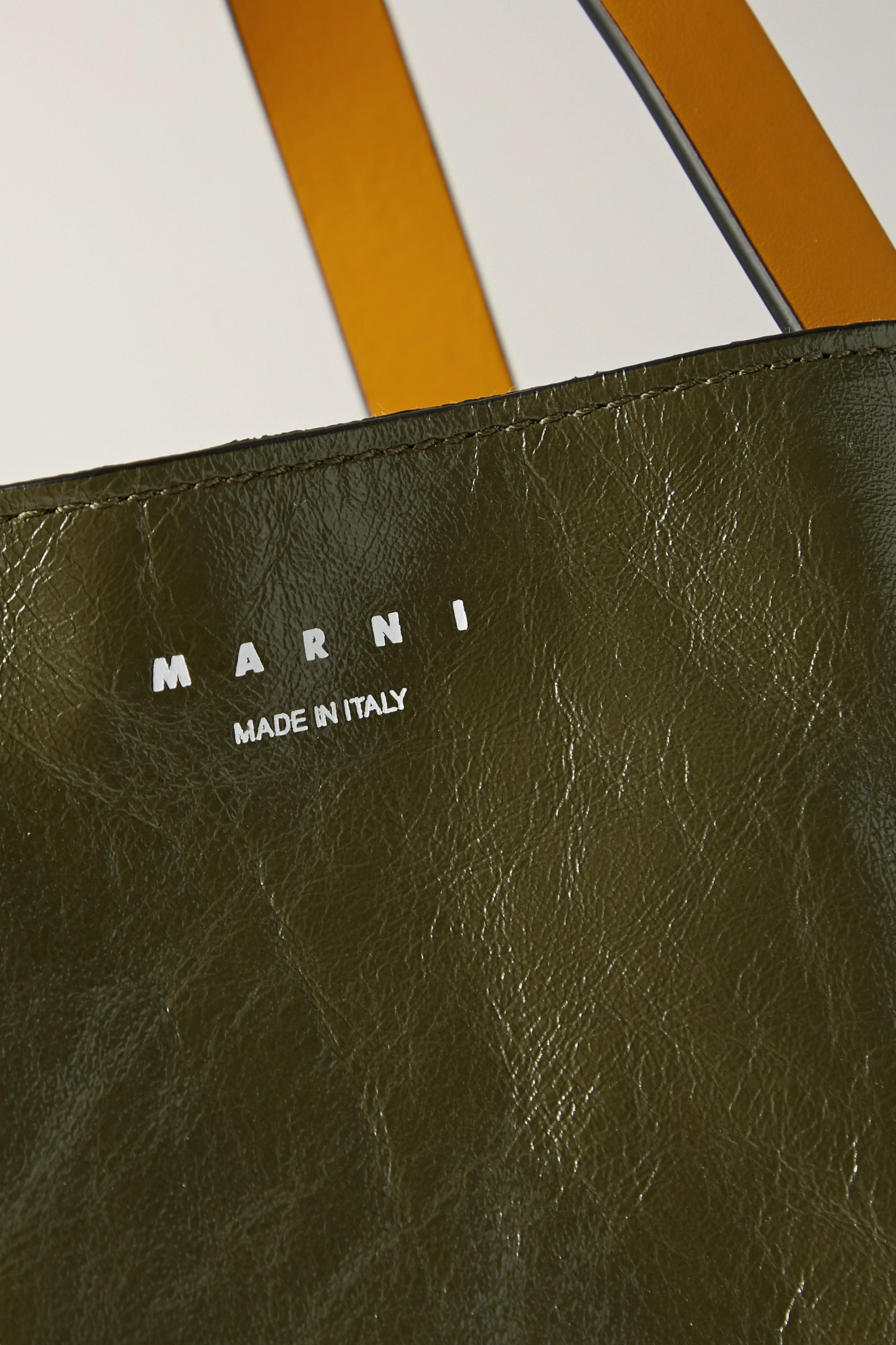 Marni Museo medium color-block crinkled-leather tote