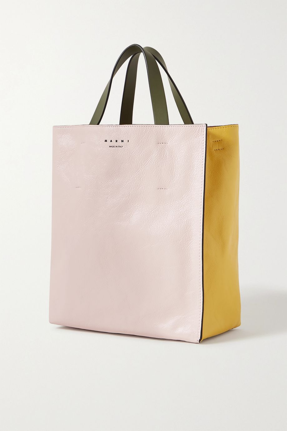 Marni Museo small color-block crinkled-leather tote